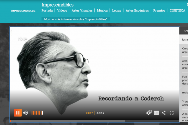 "El documental ""Recordando a Coderch"" en La 2"